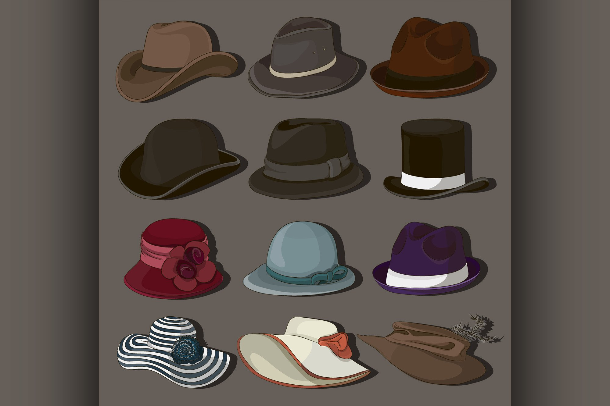 Vector set of man and woman hats example image 1