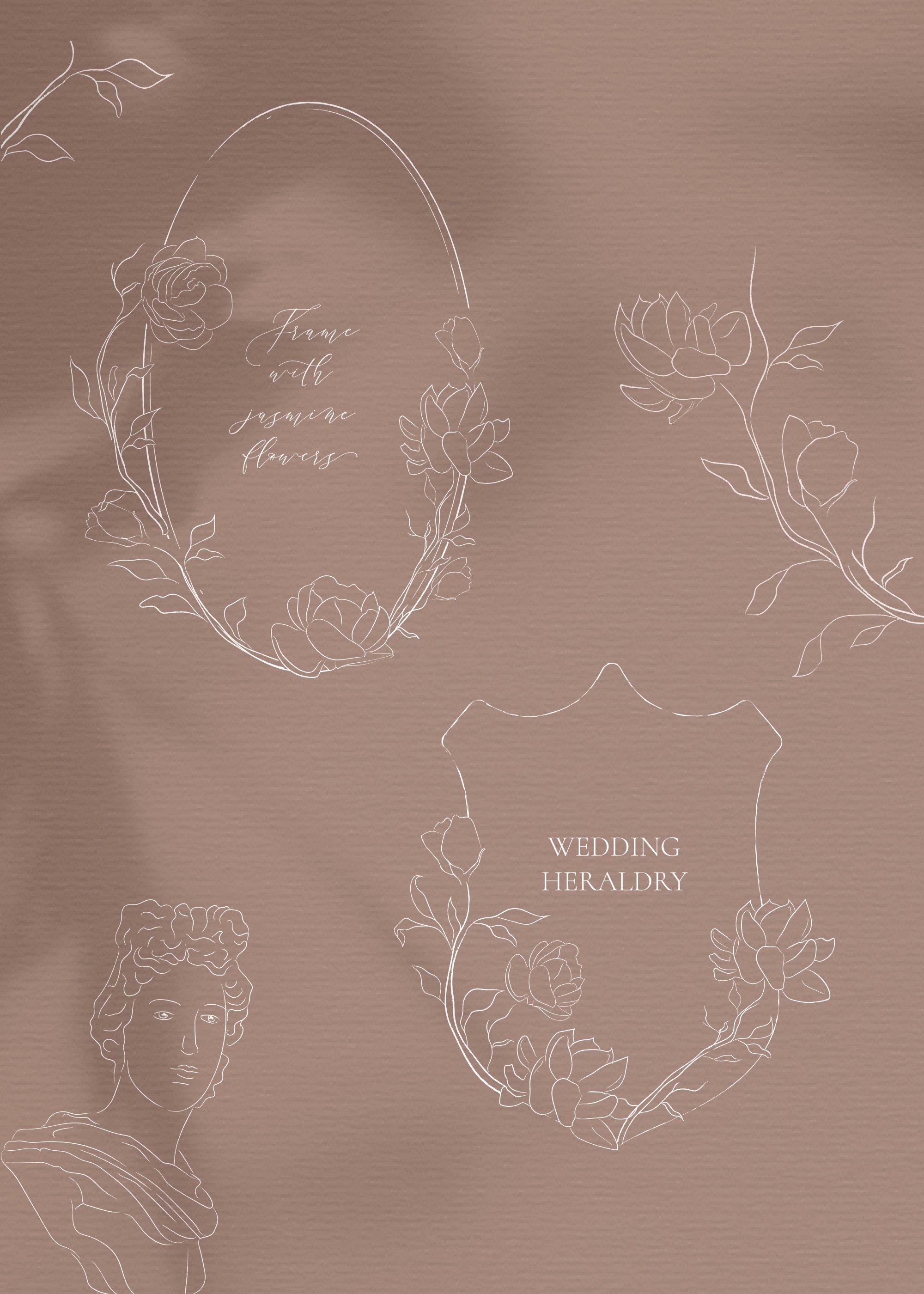 Line drawing White Jasmine Flower illustrations. Wreaths. example image 3