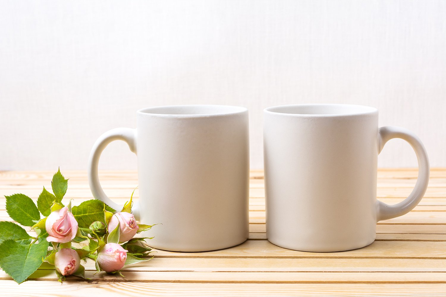 Two white coffee mug mockup with tender pale pink roses example image 2