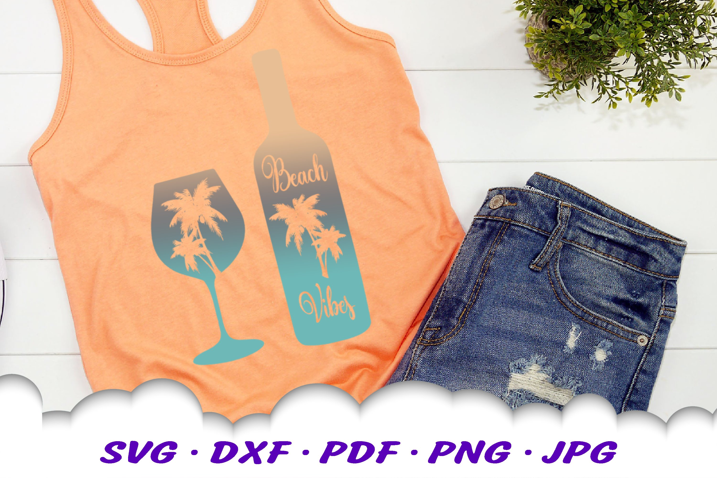 Beach Vibes Wine Bottle Glass SVG DXF Cut Files example image 4