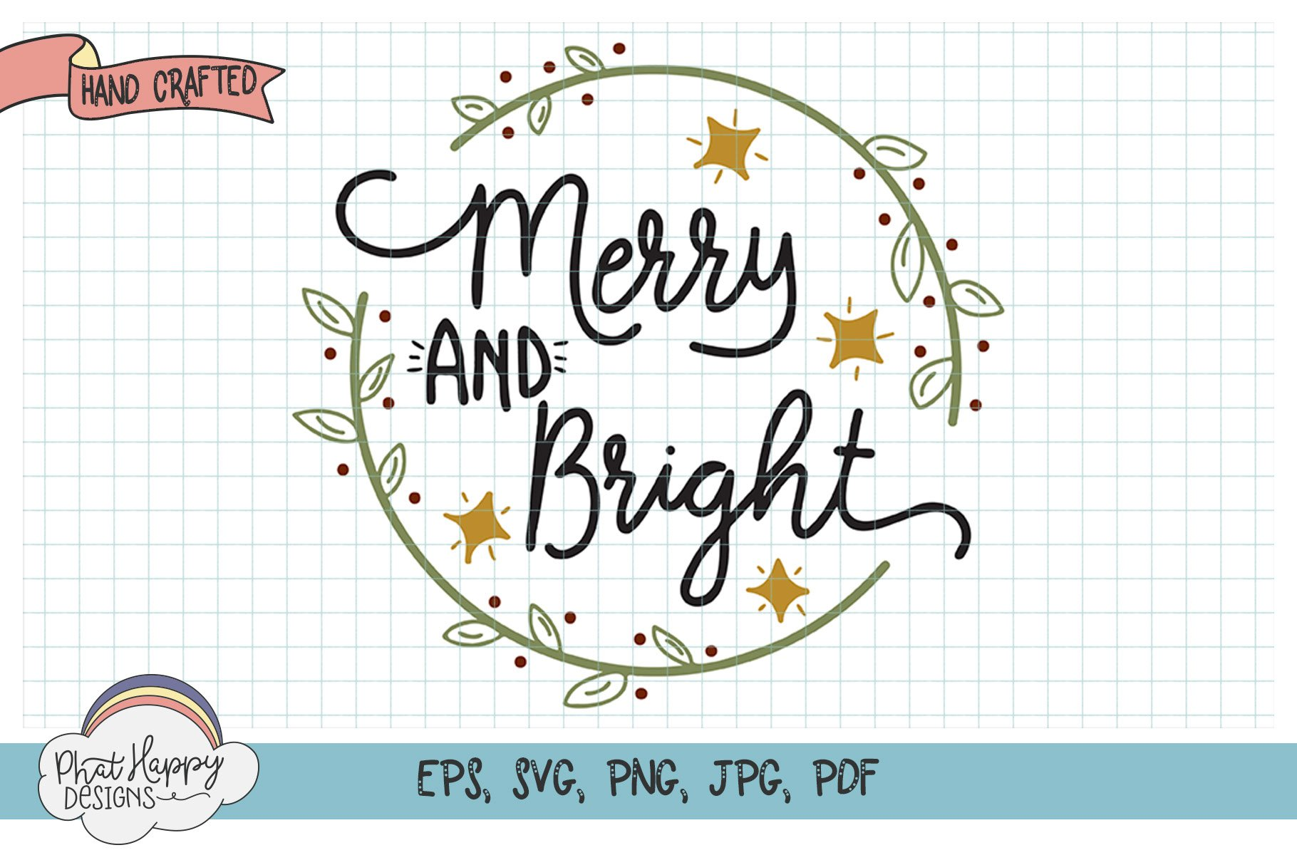 Merry & Bright - Hand Lettered Christmas SVG example image 1