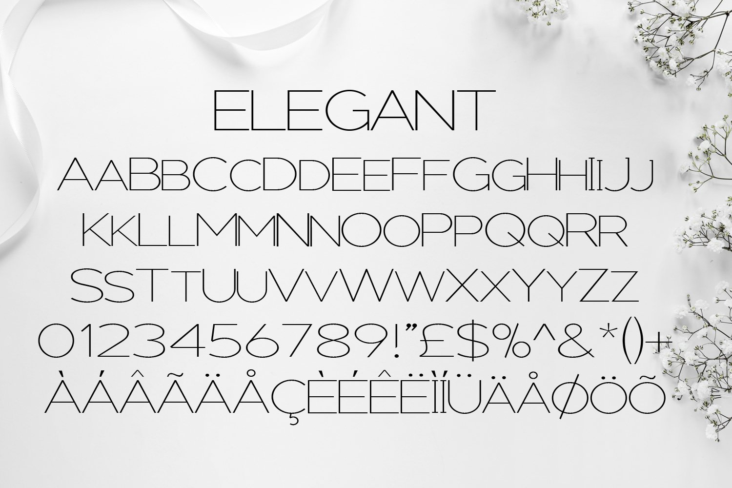 Elegant - A sans serif font decorated with florals example image 5