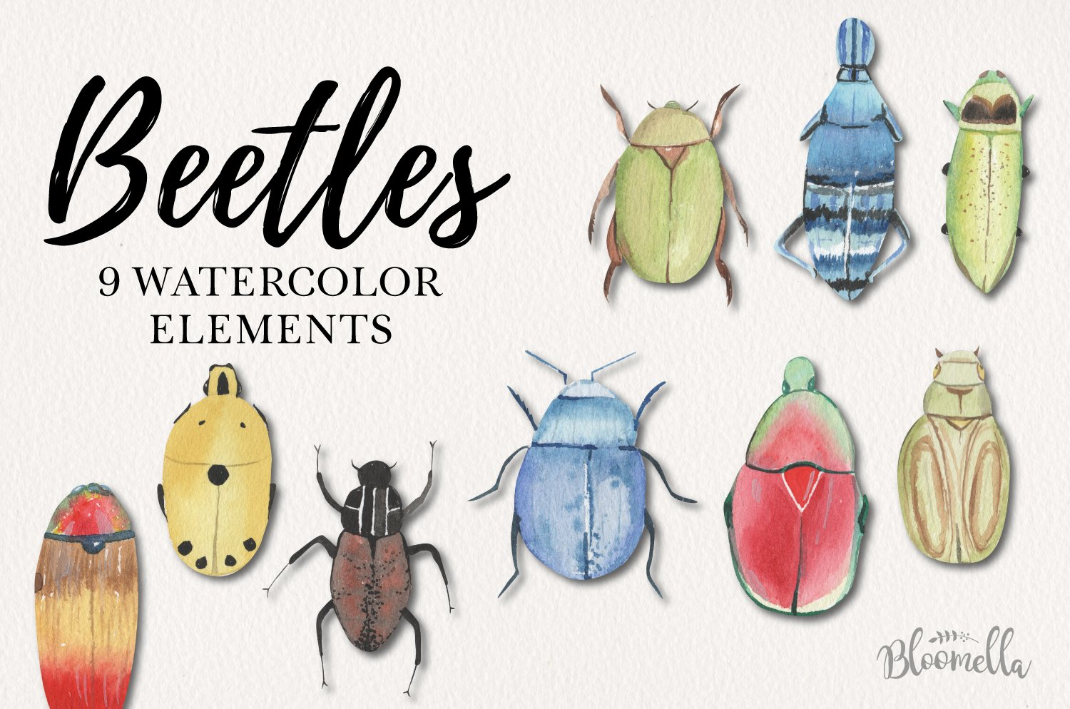 Fun Beetle Watercolor Elements Bug Icons Pretty example image 1