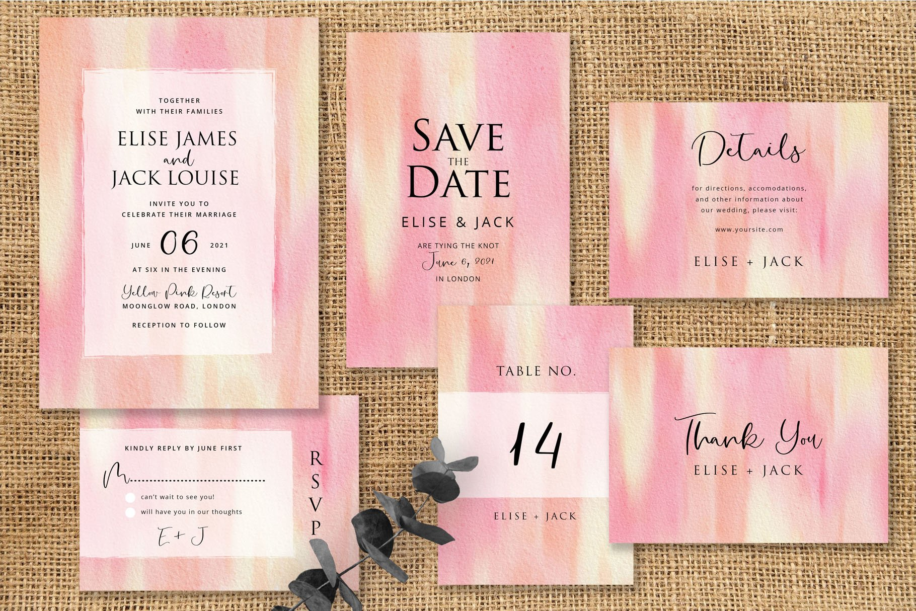 Yellow Pink Abstract Wedding Invitation Set example image 1