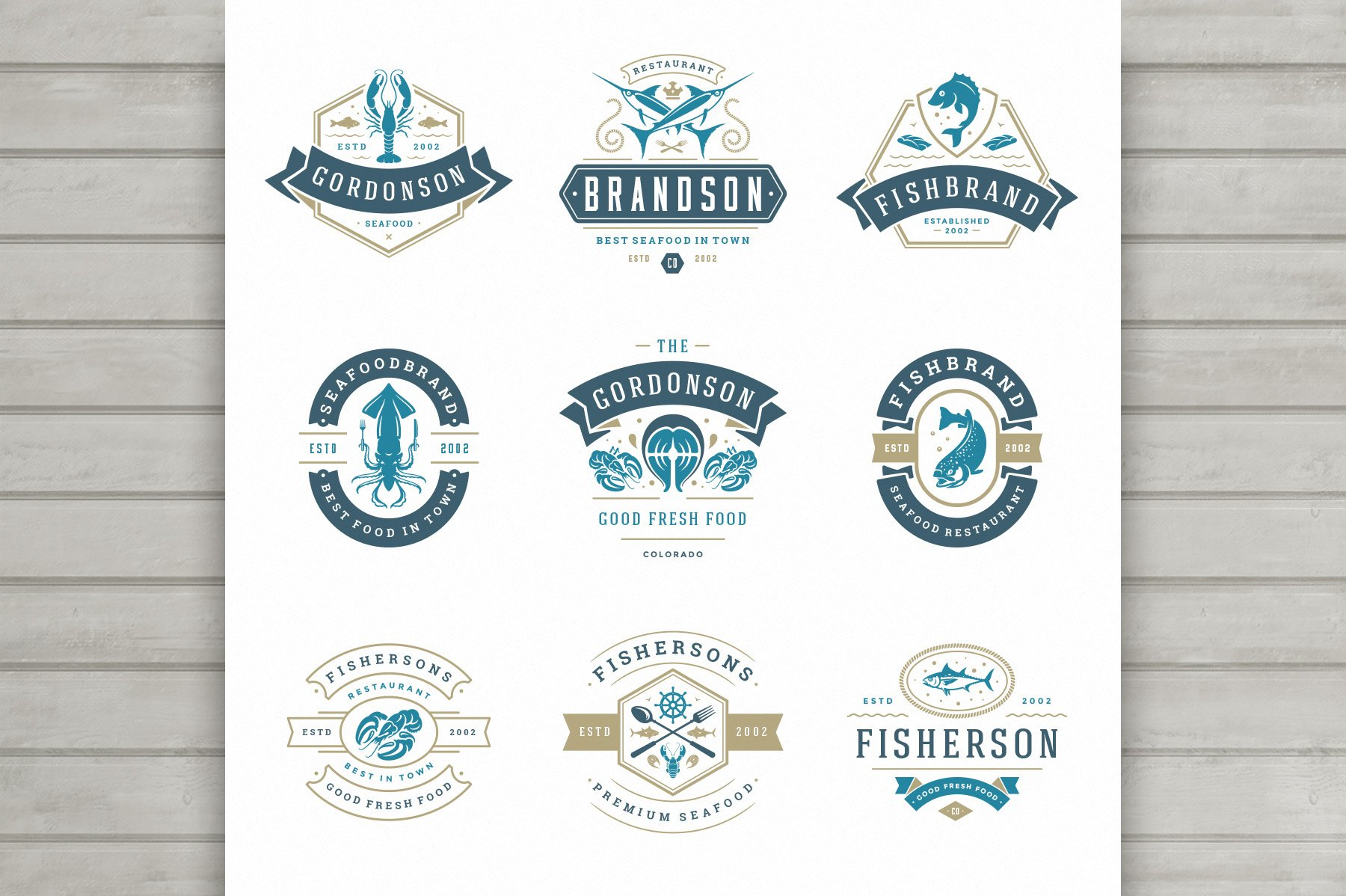 18 Seafood Logos & Badges example image 2
