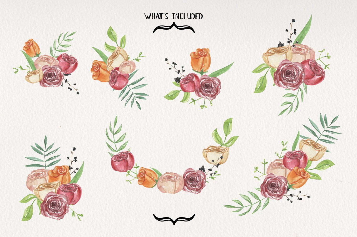 Ring Of Roses Florals 7 Watercolors Flowers Petals Bouquets example image 3