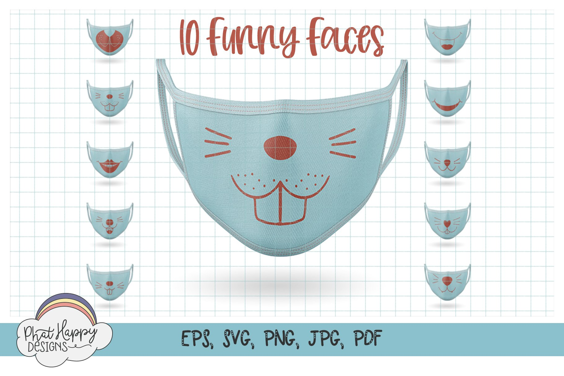 10 Funny Faces for Masks - SVG Cut Files example image 1