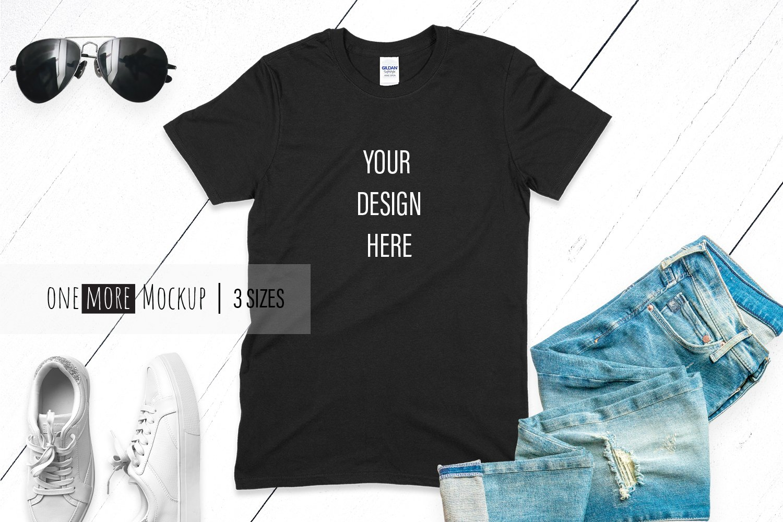 Black TShirt Mockup   Gildan 6400 Black   Summer Mockup example image 1