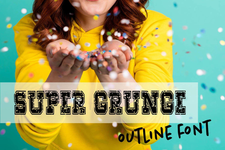 Super Grunge Outline Font example image 1