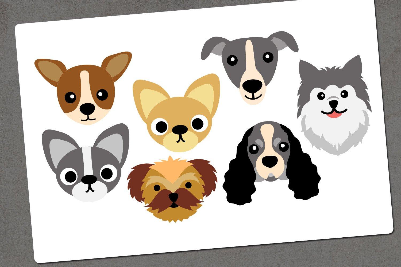 Dog face illustration clip art example image 2
