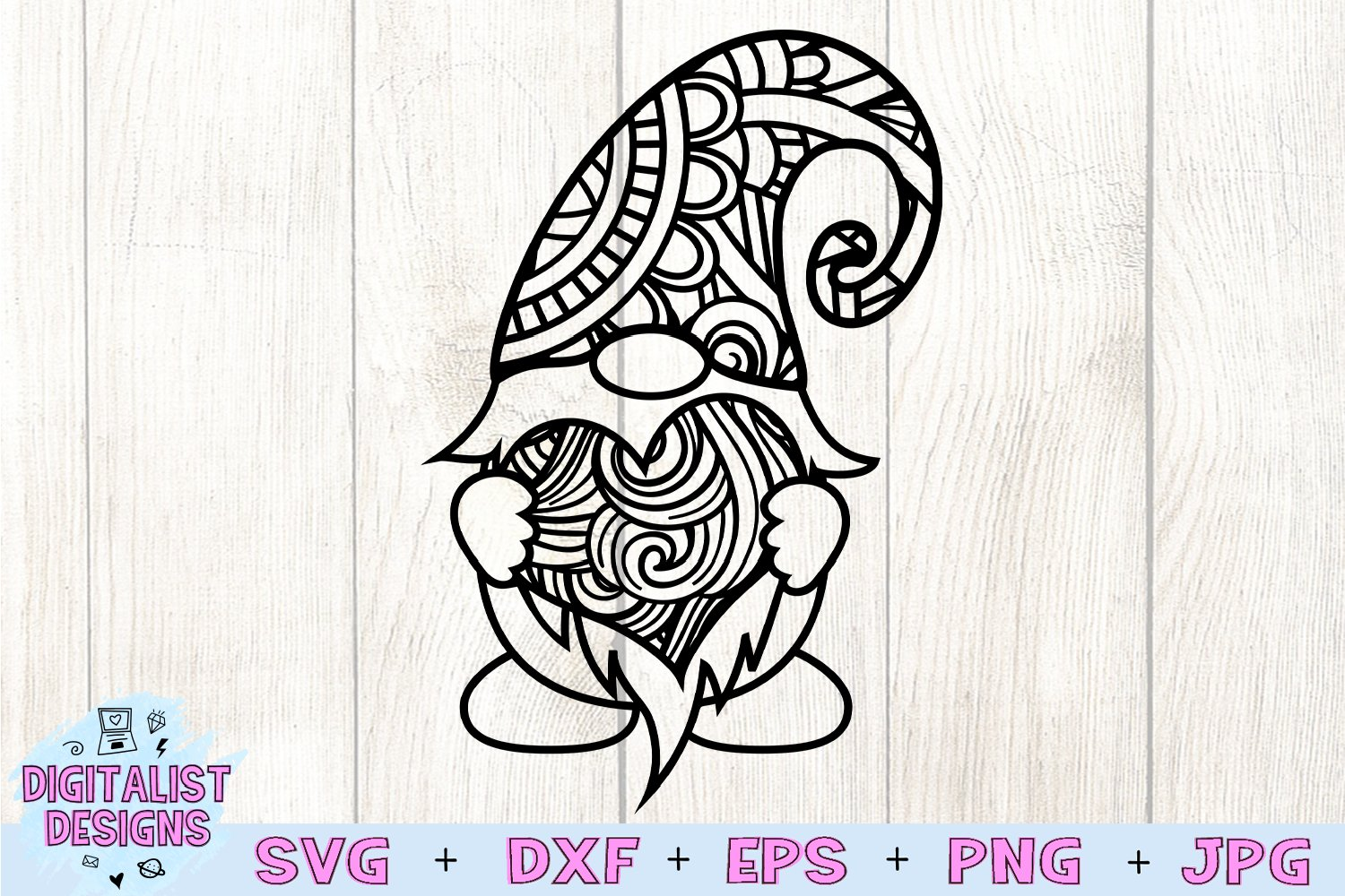 Download Gnome Zentangle SVG, Valentine's Day SVG, Valentine's ...