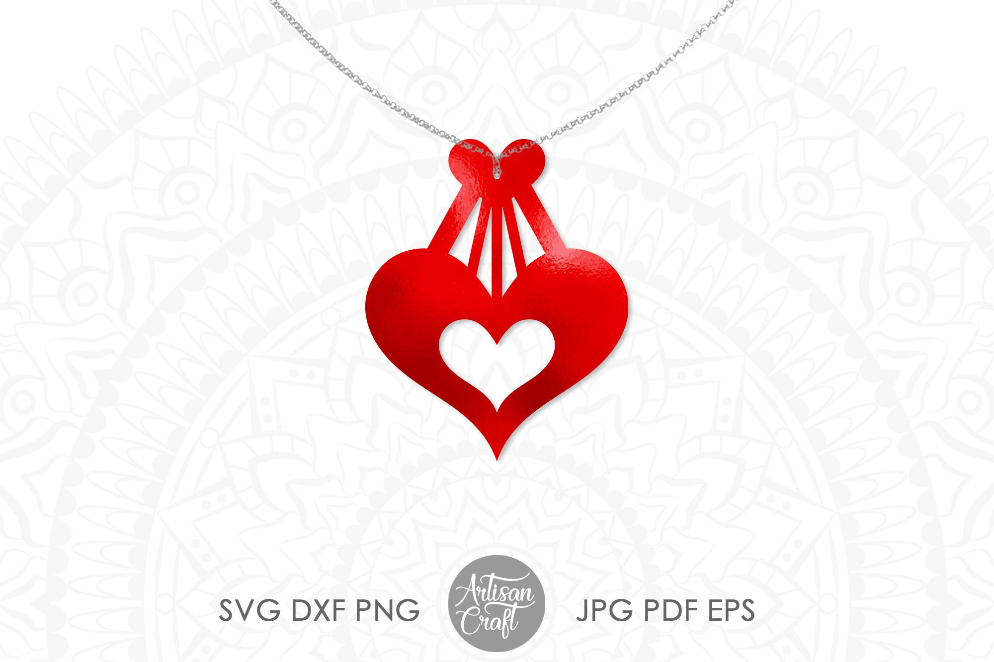 Heart earrings, SVG cutting files, faux leather earrings example image 5