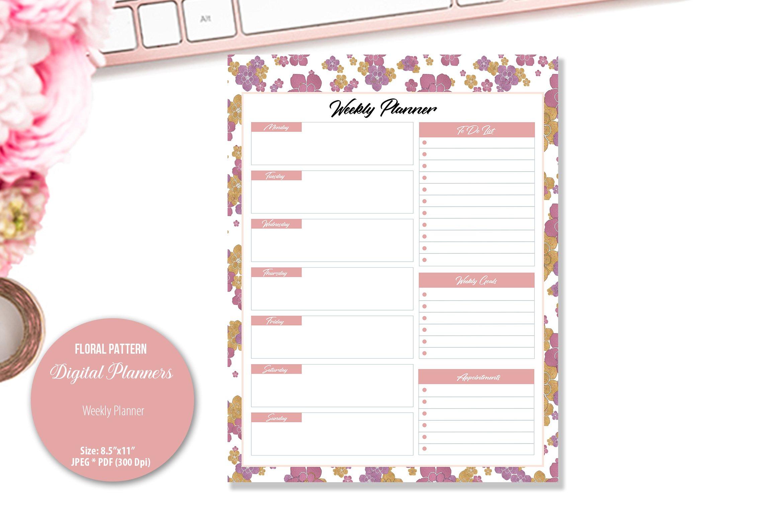 Rose Floral Pattern Digital Planner example image 3