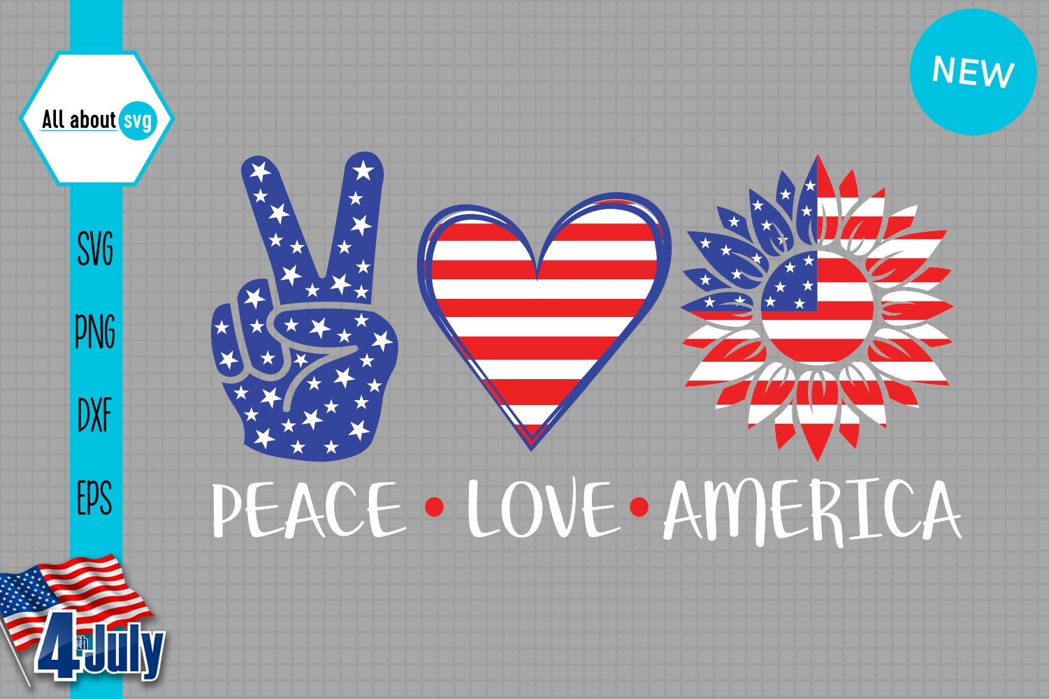 Peace Love America Svg example image 2
