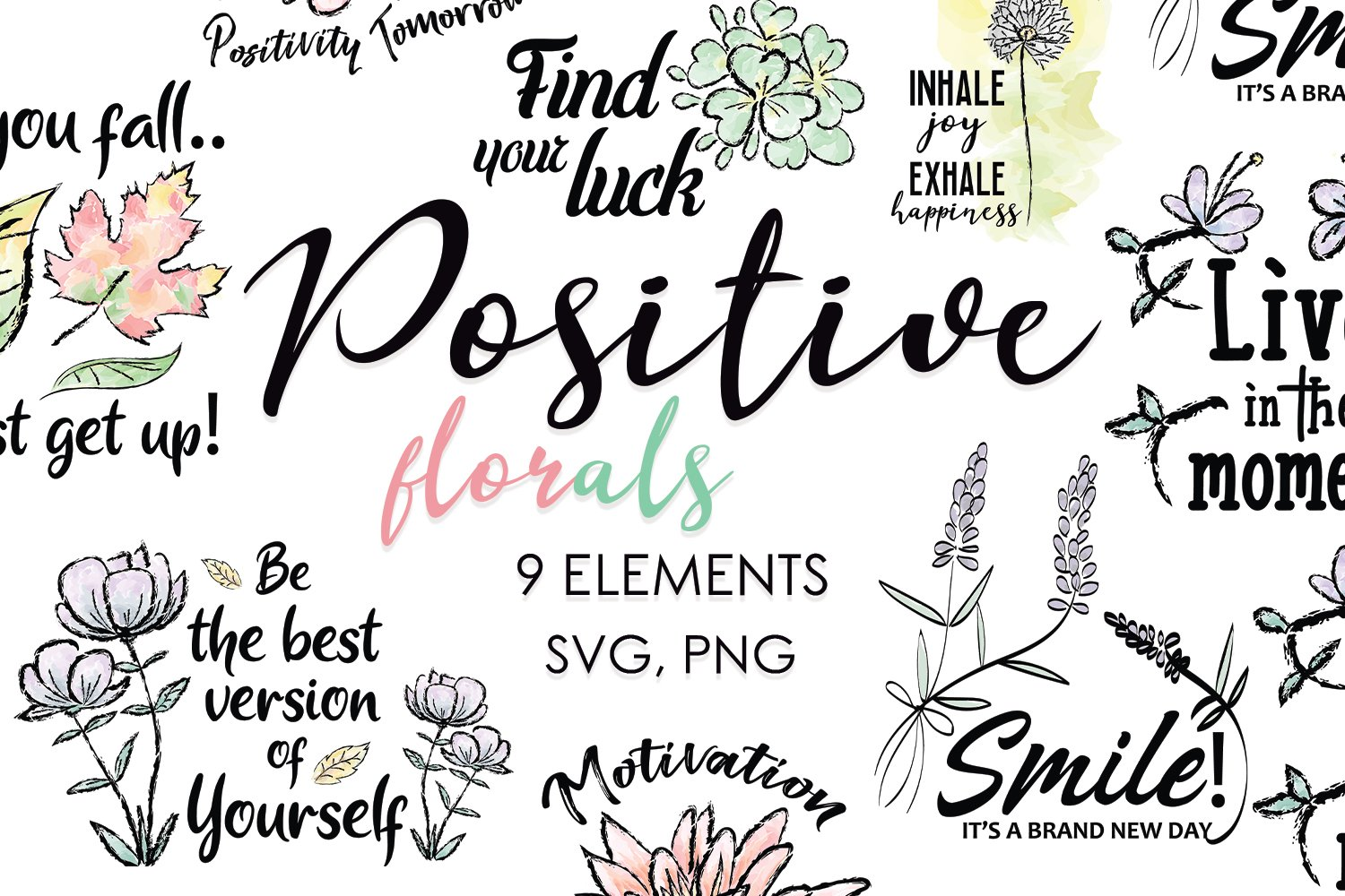 Floral Clipart, Watercolor Flowers, Positive Thoughts svg example image 1