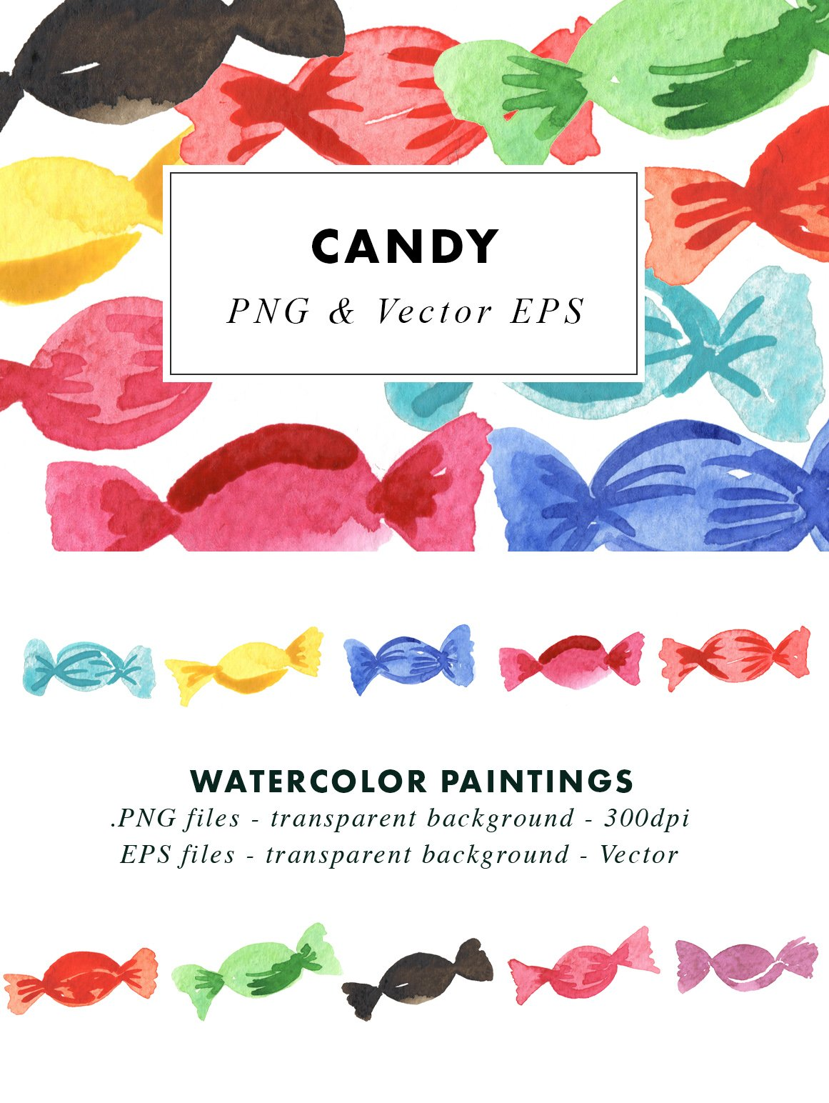 Watercolour Candy - Sublimation Clipart Illustrations vector example image 3