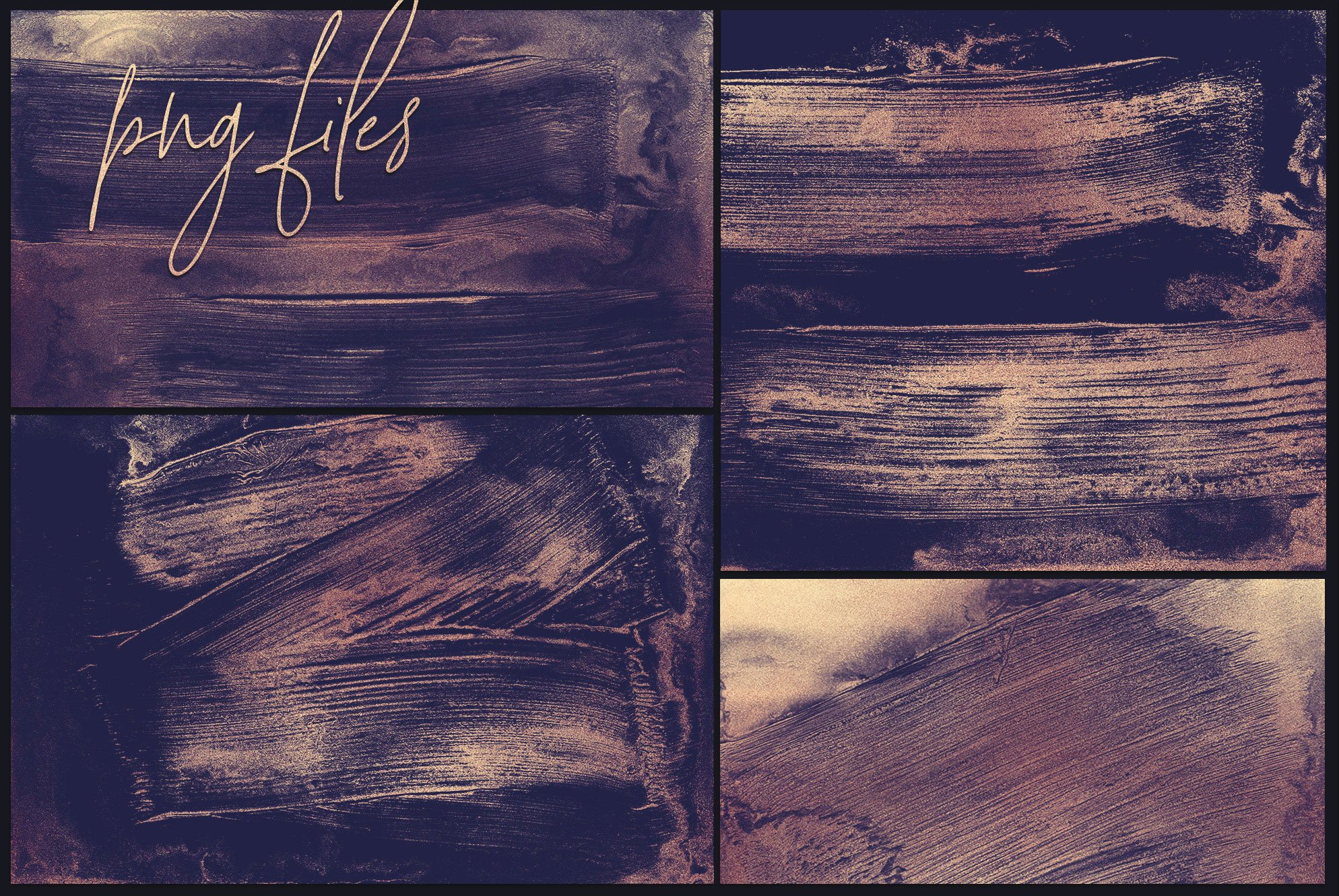 Rose Gold Brush Strokes - 20 Backgrounds JPG-PNG example image 4