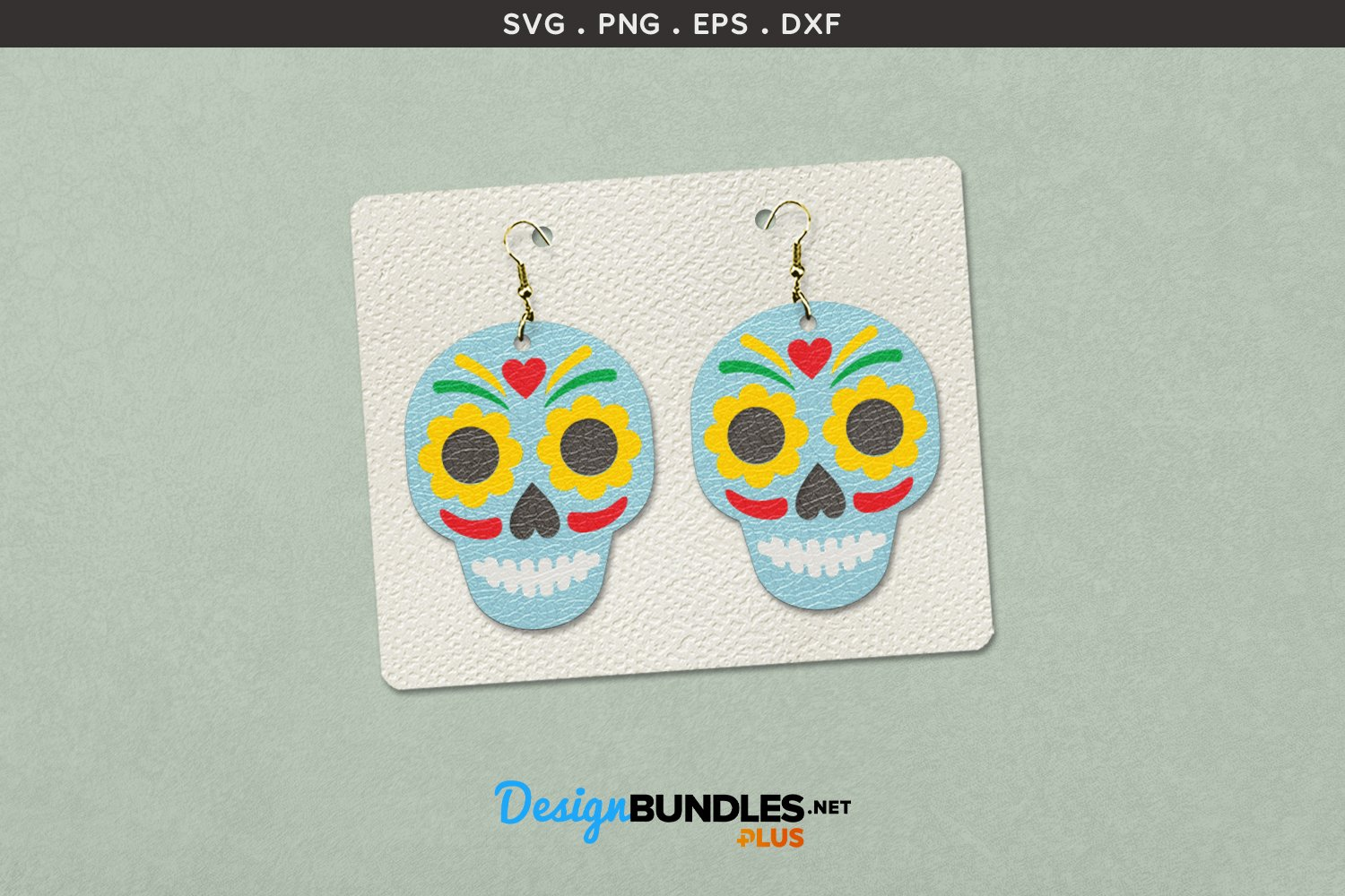 Halloween Earrings Template | Day of the Dead Sugar skull example image 1