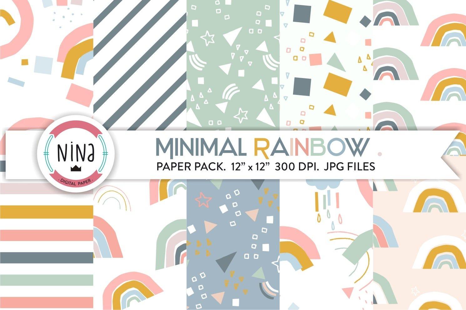 Minimal Rainbow Digital Paper Pastel Modern Patterns 465558 Patterns Design Bundles