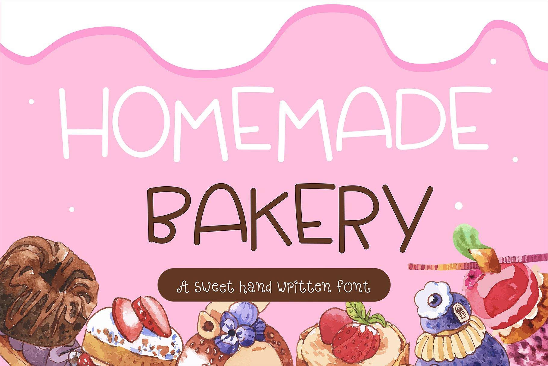 Homemade Bakery Handwritten- cute kid font Kawaii style! example image 1