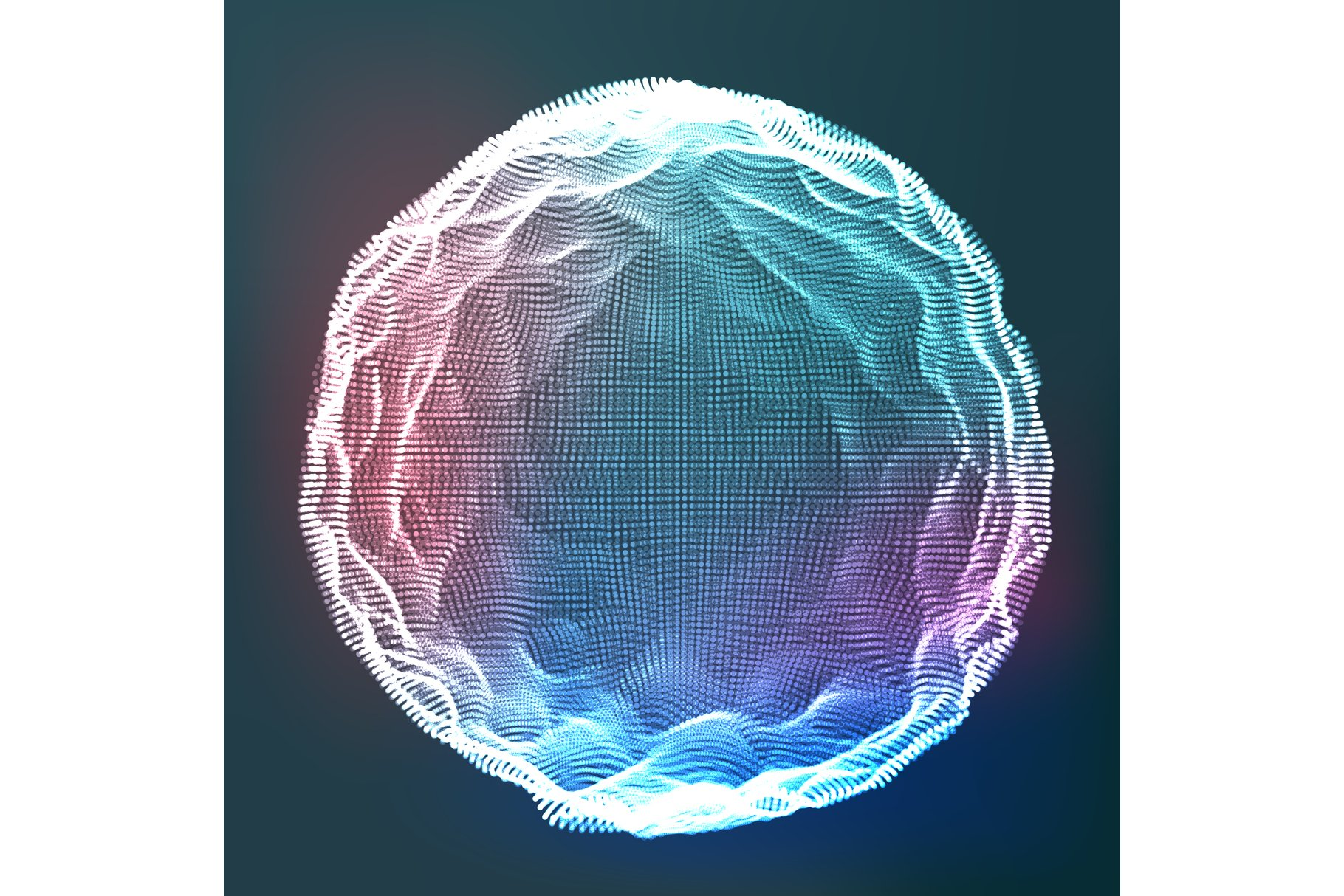 Glowing Abstract Sphere Vector. Data Wireframe. Explosion. example image 1
