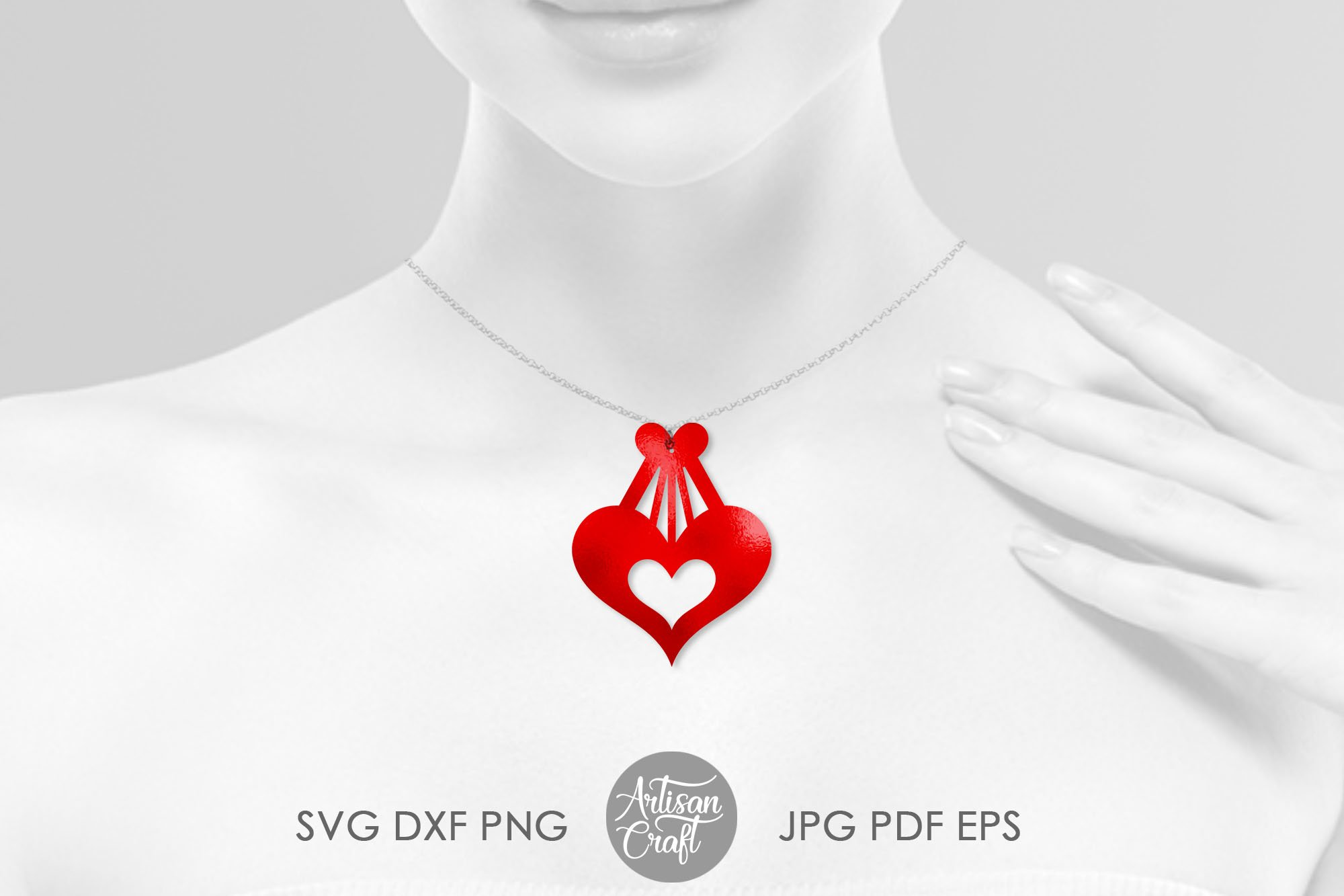 Heart earrings, SVG cutting files, faux leather earrings example image 2