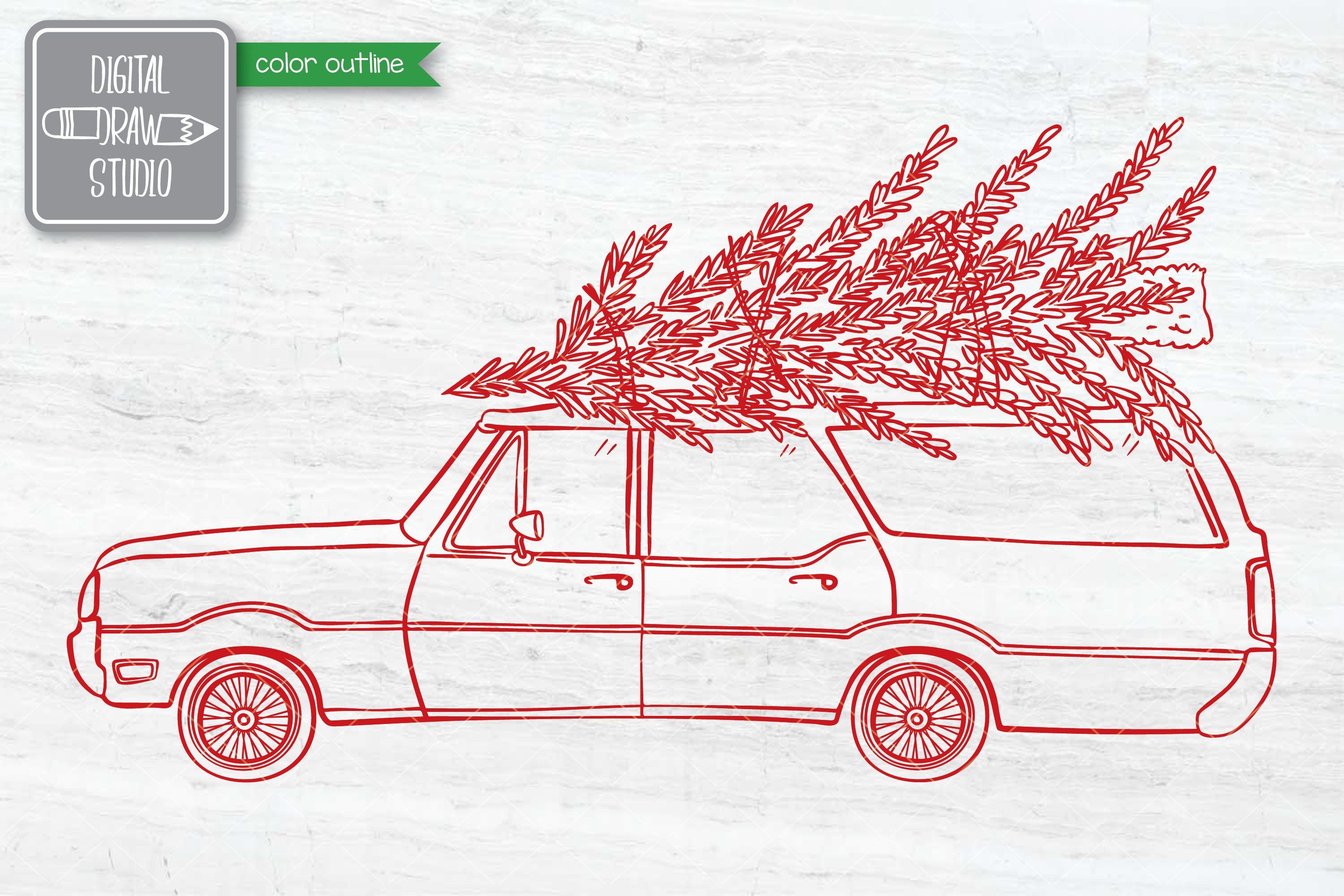 Color Station Wagon Car Christmas | Tree on Roof Top Holiday example image 7