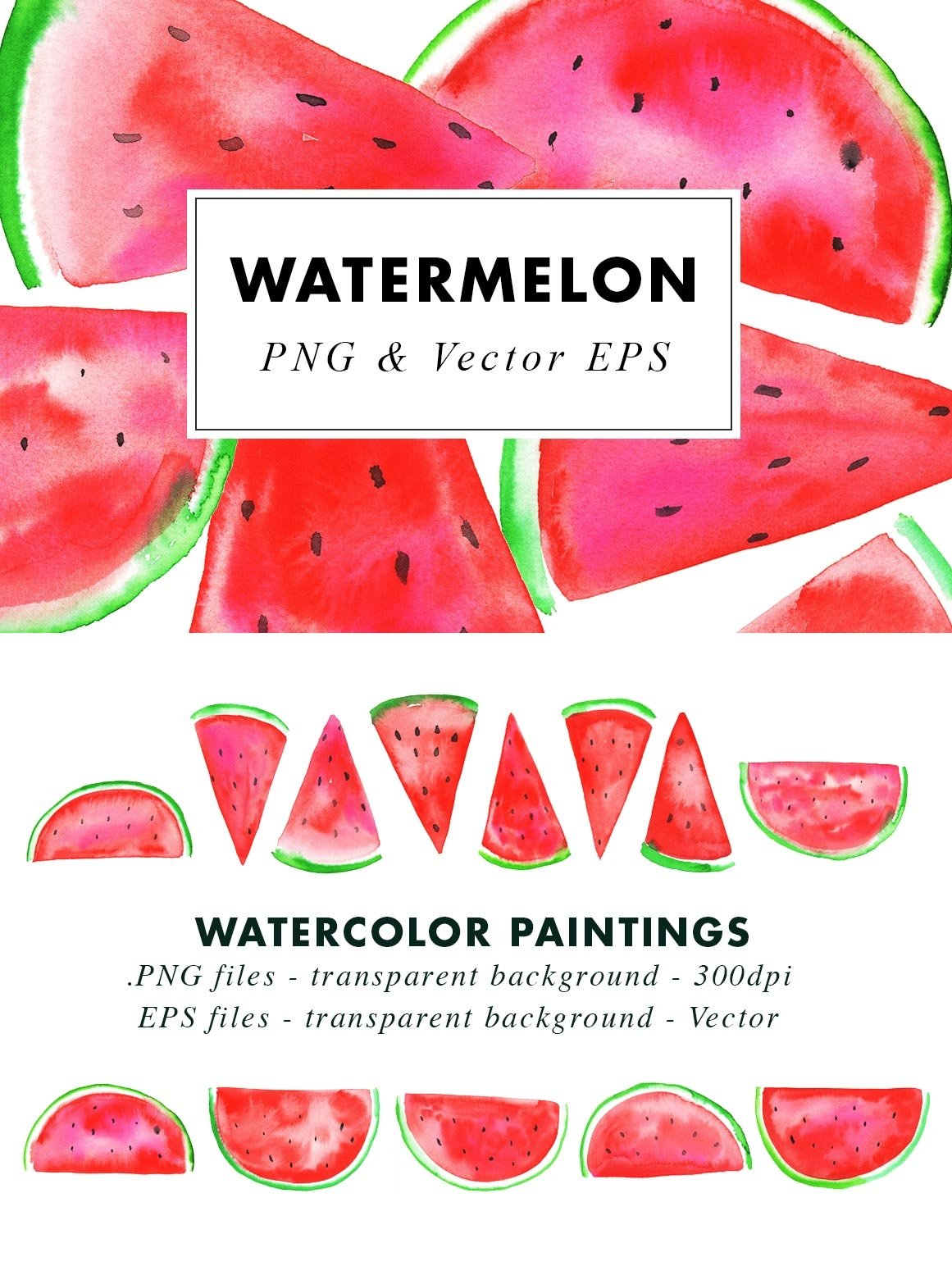 Watercolor Watermelon Illustrations Clip Art in PNG & Vector example image 3