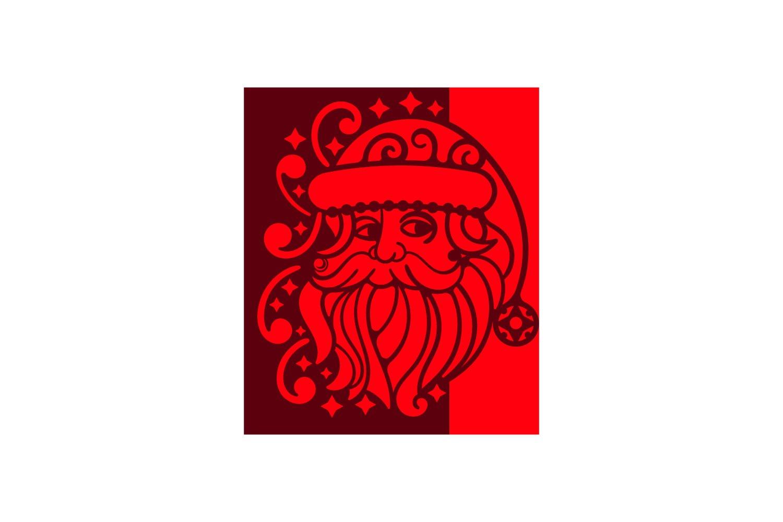 Papercut Christmas Santa Card Cover, Invitation, Spirals example image 2
