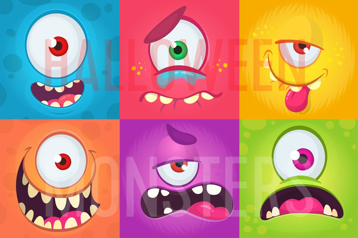 Cartoon Monsters Face With One Eye Expressions Set 489186 Illustrations Design Bundles