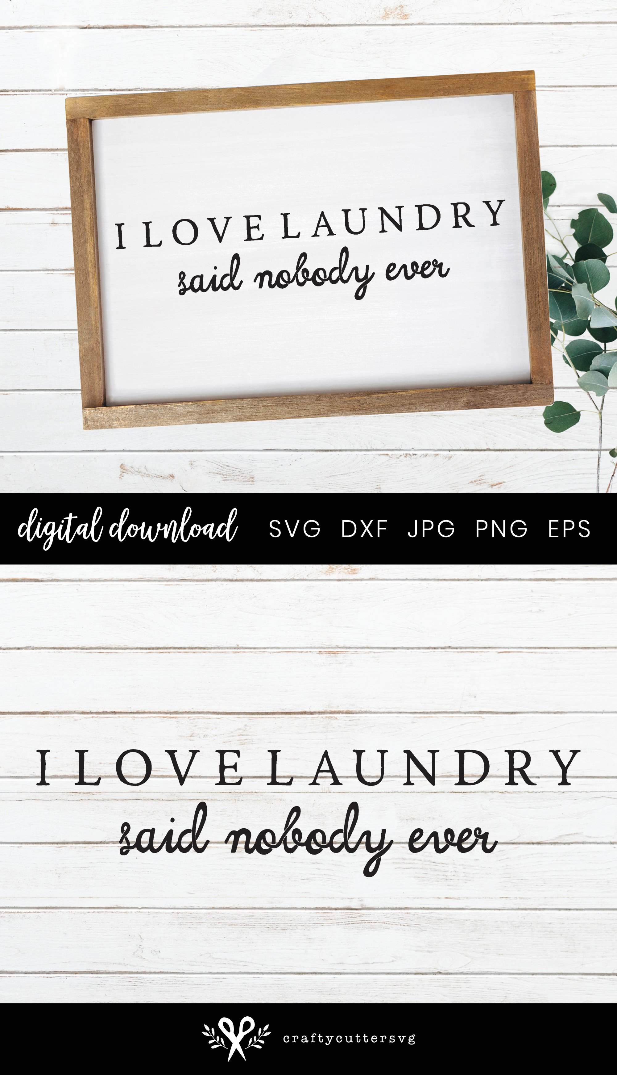 I love Laundry | Farmhouse Laundry Room Sign SVG example image 3