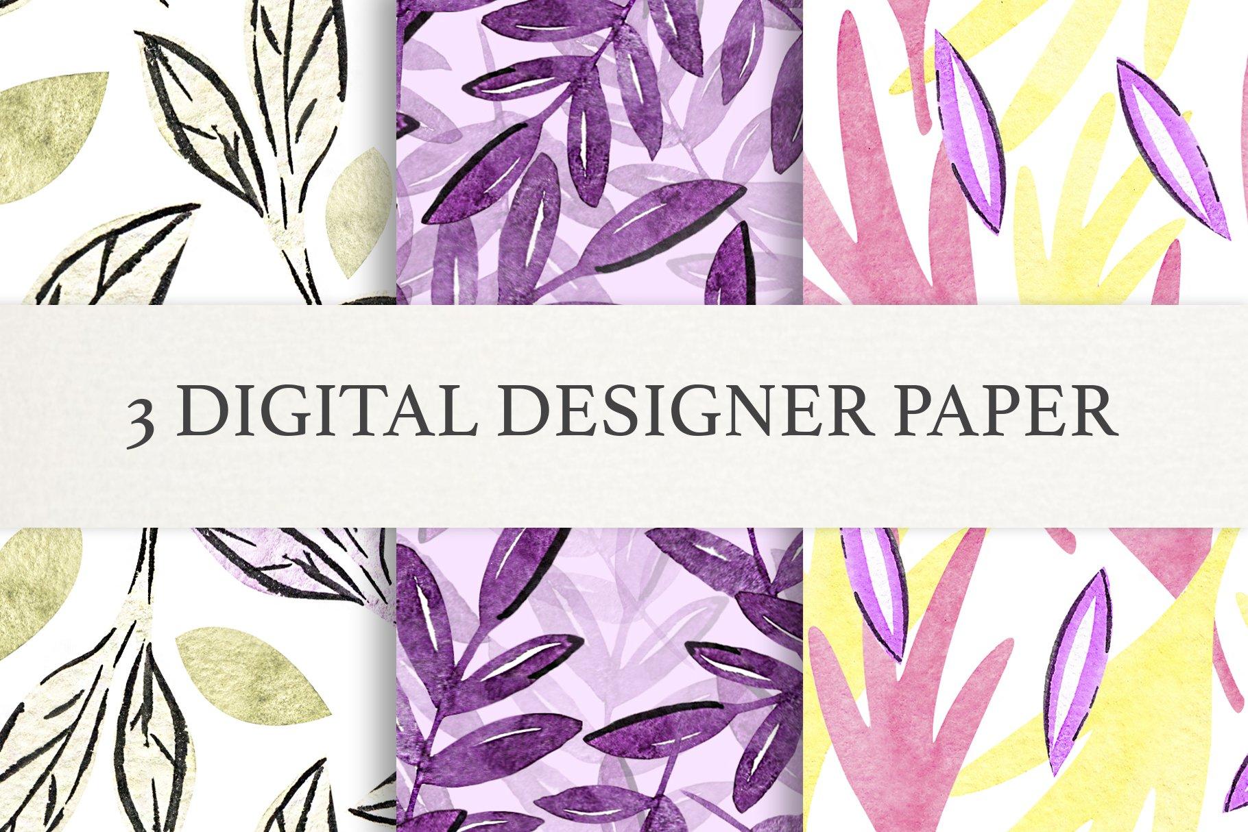Watercolor Leaf Digital Scrapbook Paper, Seamless Patterns example image 1