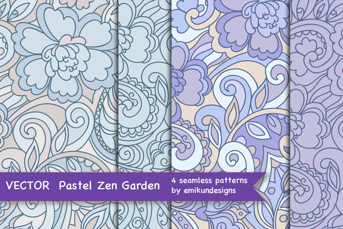 Blue purple vector floral pattern example image 1