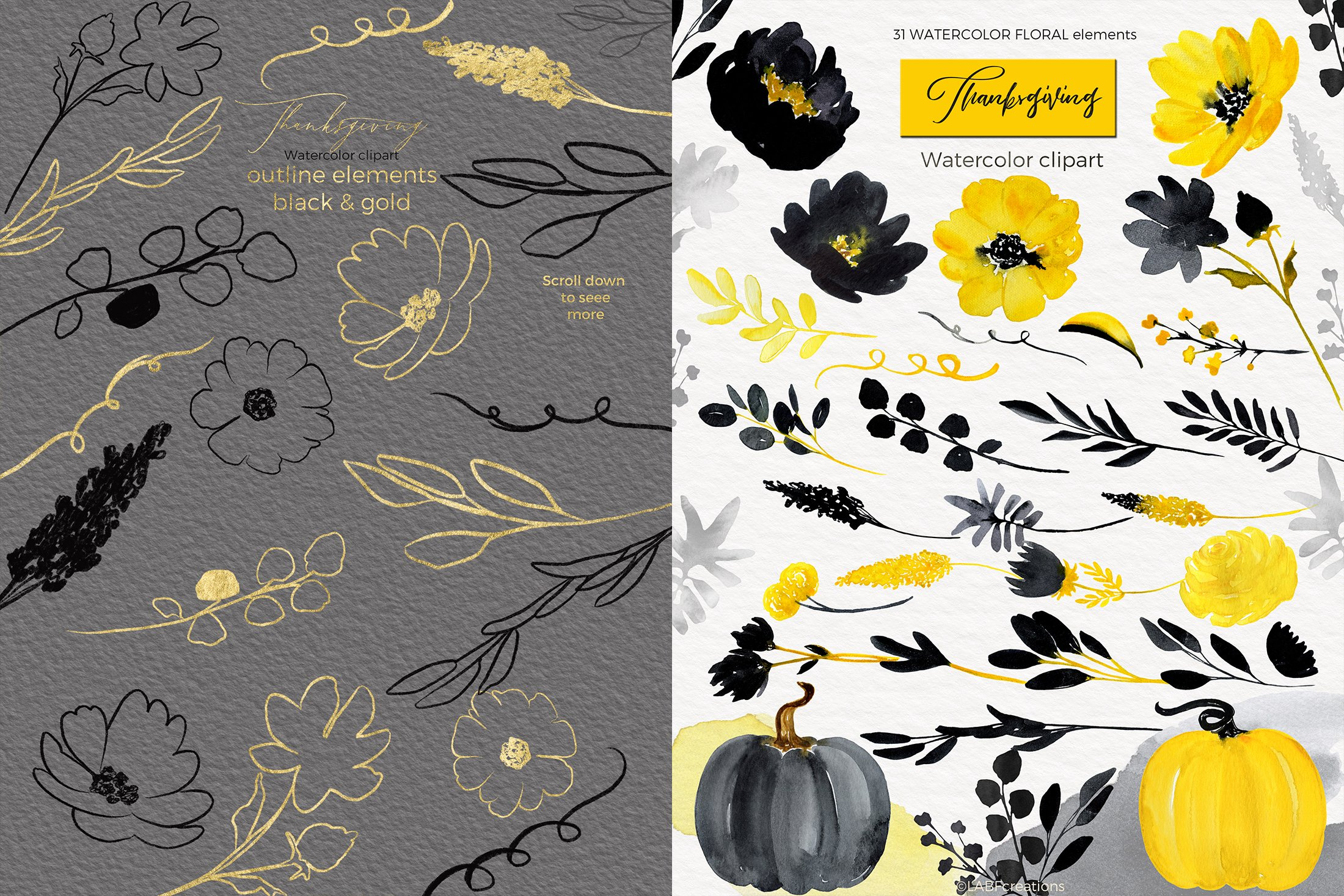 Thanksgiving. Black & Yellow Watercolor flowers example image 7