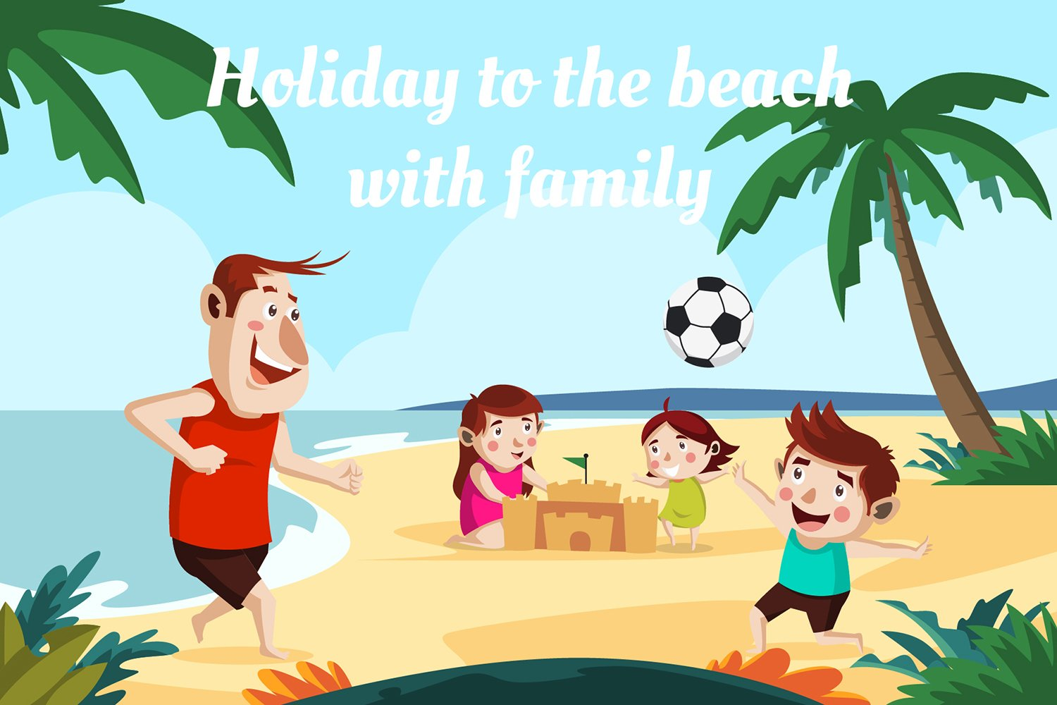 Holiday to the beach with family-vector illustration example image 1
