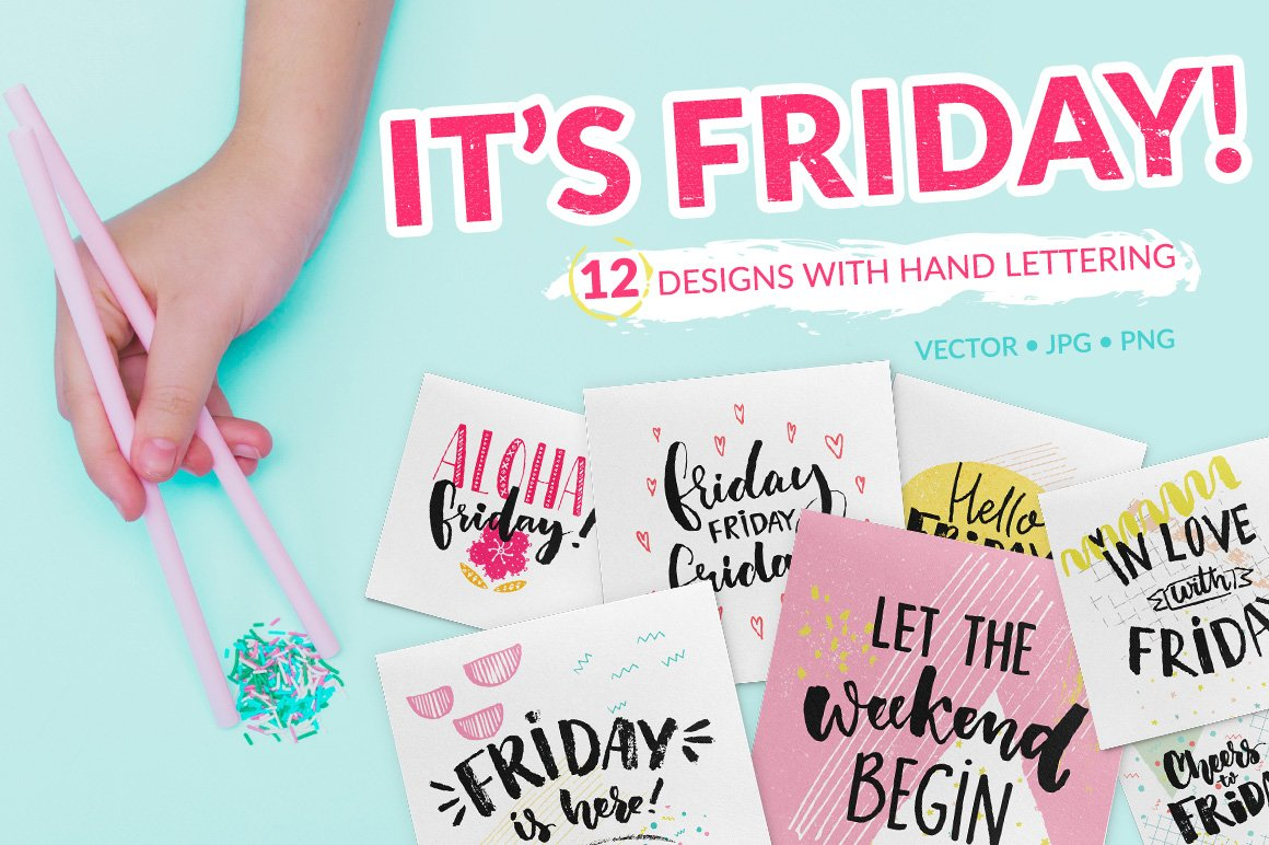 Friday - hand lettering sayings example image 1