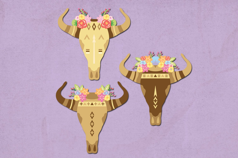Boho skull illustration clip art example image 3