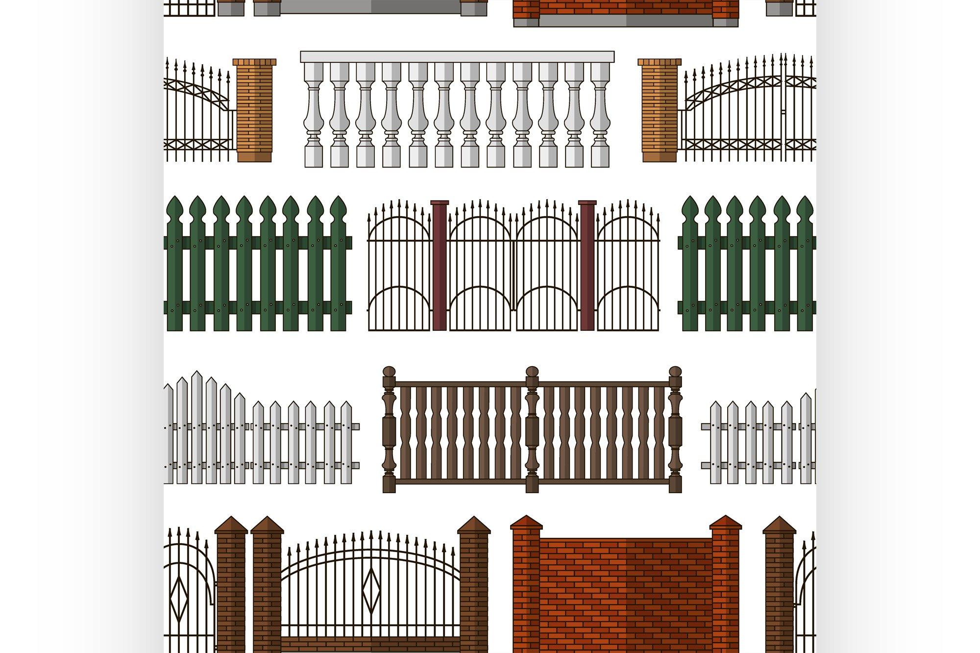 Set of gates and fences pattern example image 1