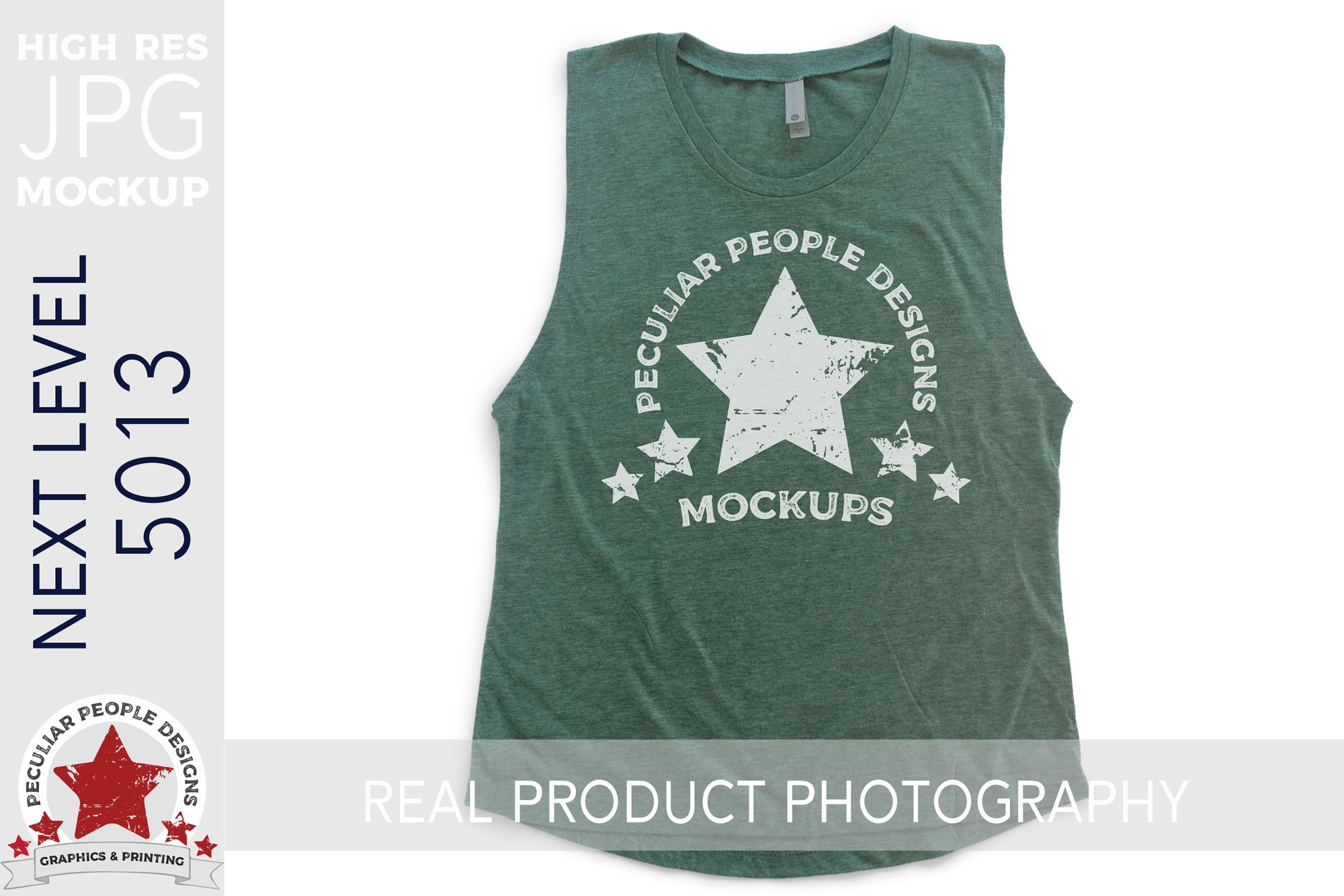 Muscle Tank Top Clothing Mockup Next Level 5013 Green example image 1