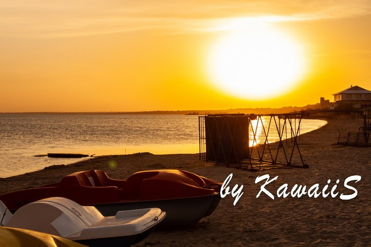 Colorful sunset on empty sea beach with sport catamarans example image 6