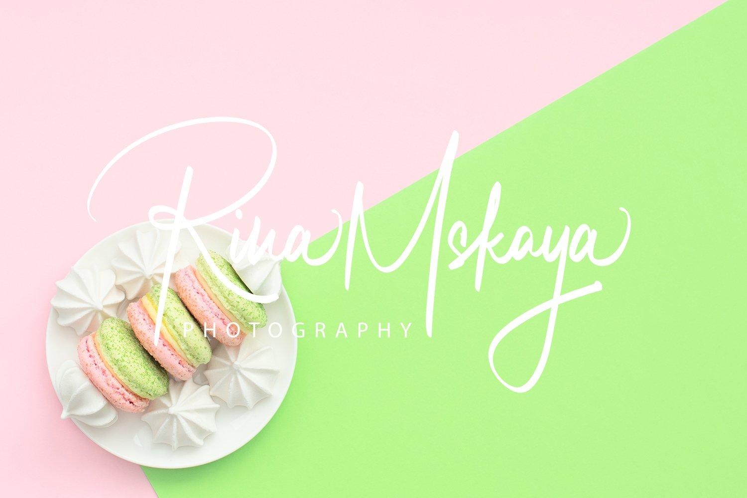 Delicious macarons with white merengues on white plate example image 1