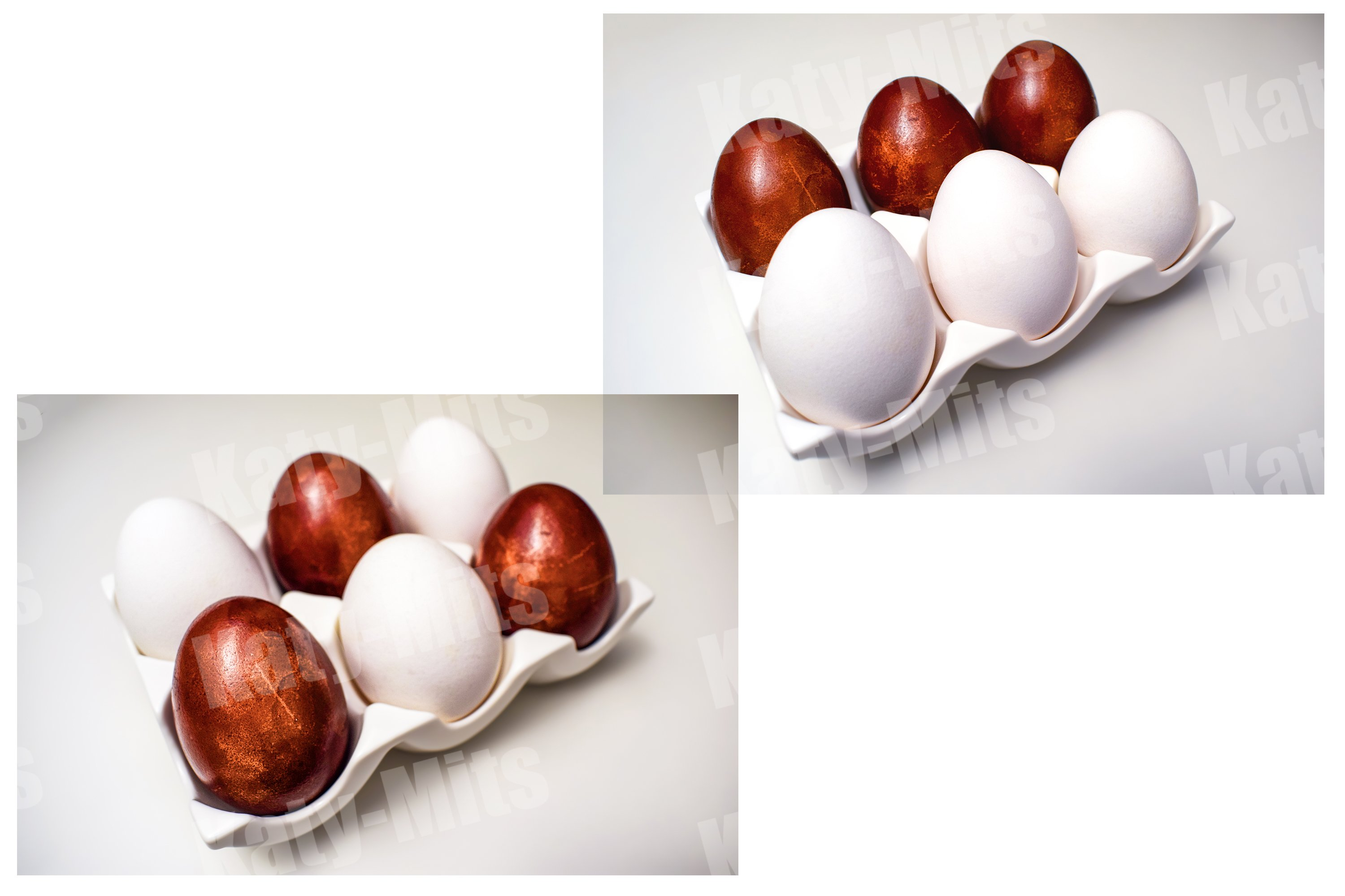 Set of 2 photos. White and colored eggs in a ceramic stand example image 1