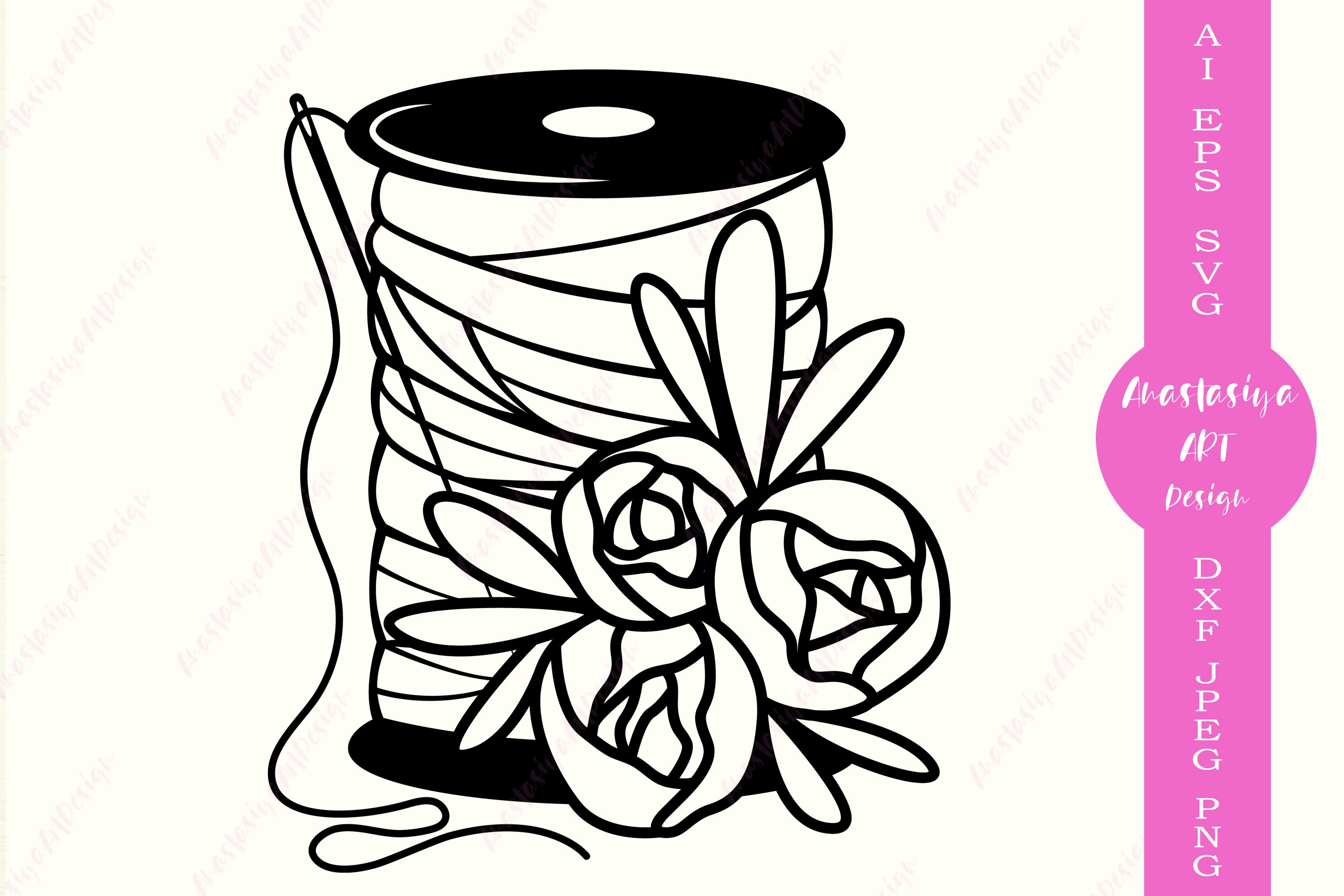 Sewing Thread Border SVG DXF Graphic Art Cut Files