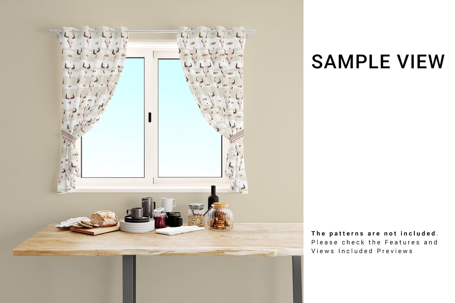 Kitchen Short Curtains Mockup Set example image 3