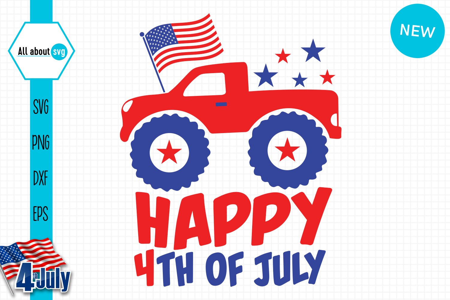 Happy 4th Of July Svg, USA Truck Svg example image 2