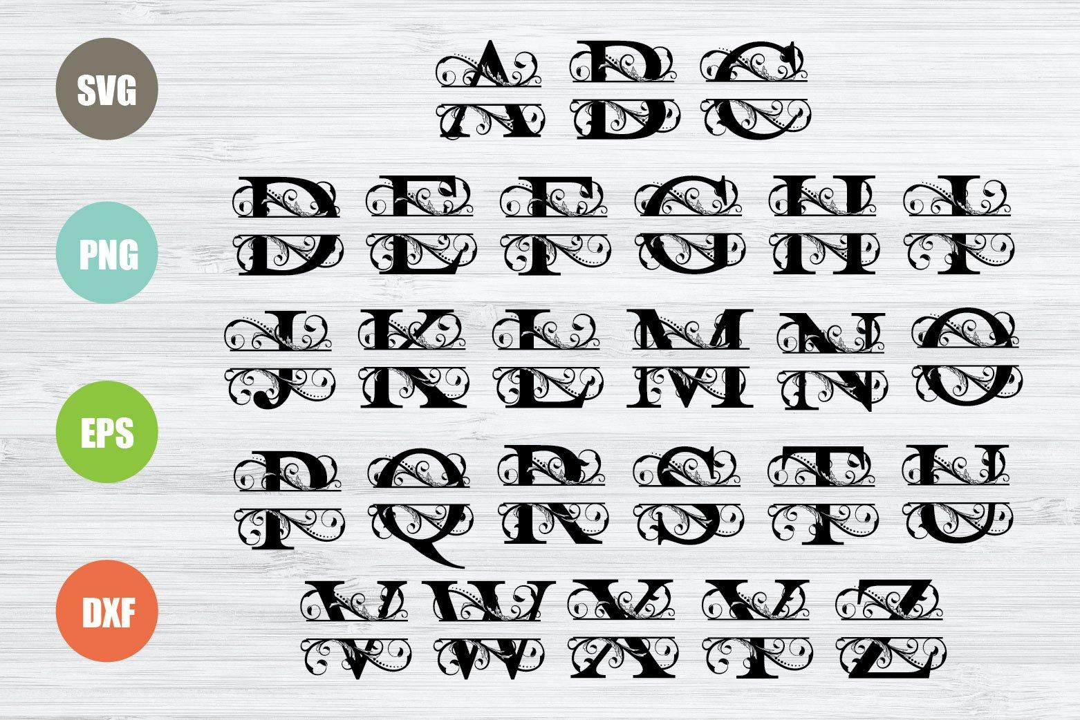 Split Monogram Letters SVG, Full Alphabet example image 2