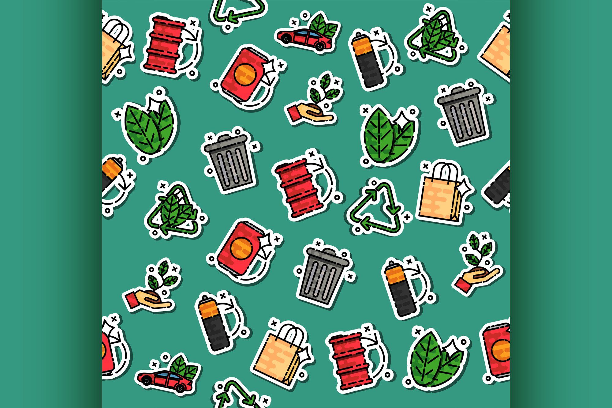 Colored recycling pattern example image 1
