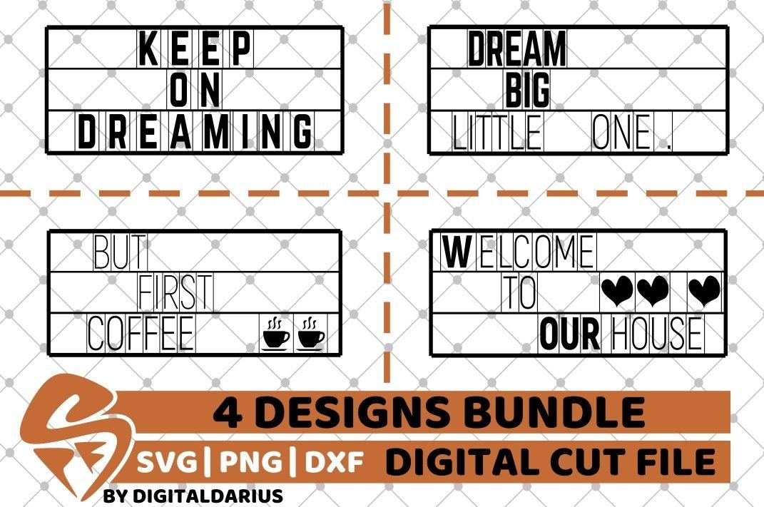 4x Dream Quote Designs Bundle Svg Home Decor Svg Coffee 561942 Cut Files Design Bundles
