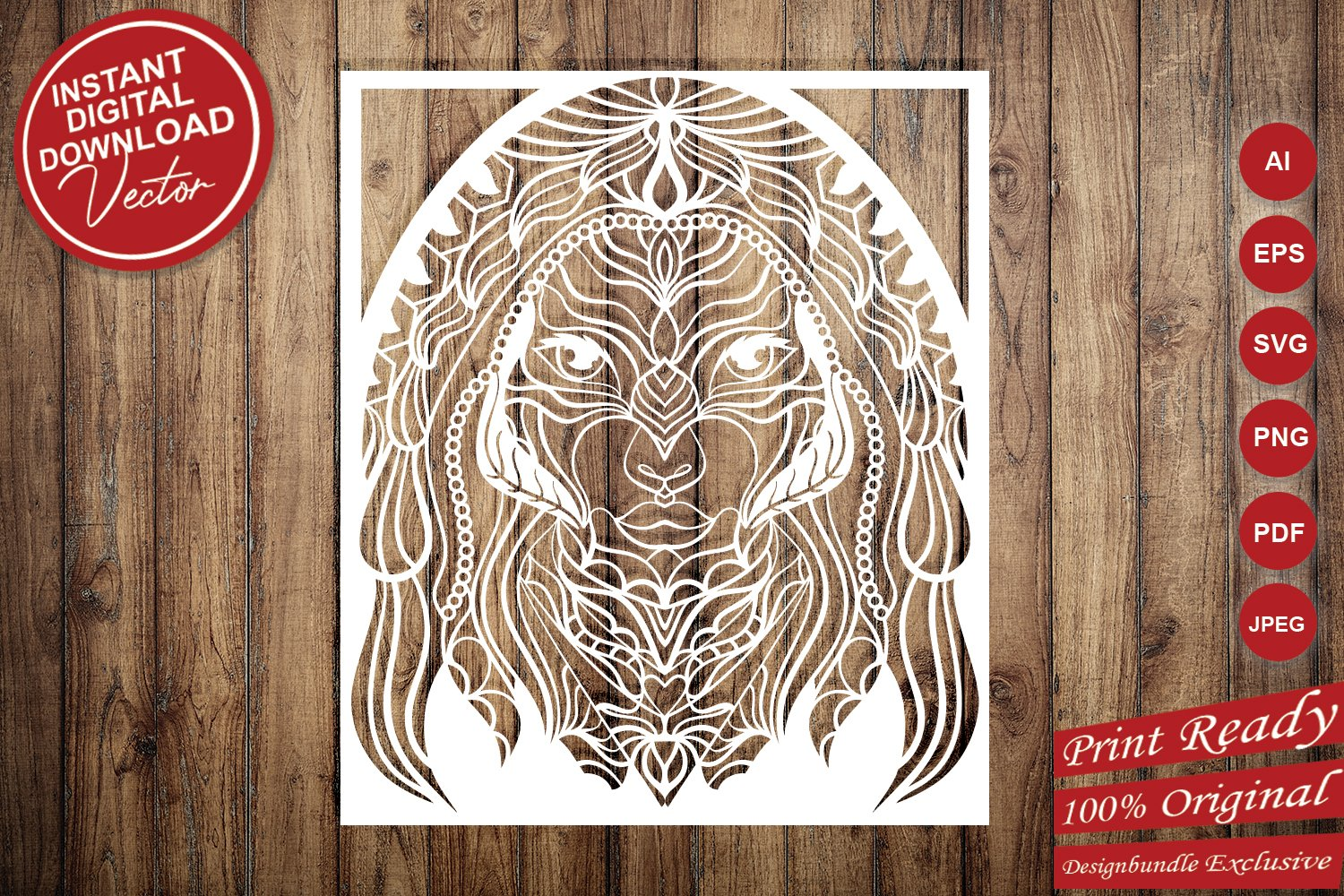Beautiful Women Portrait Papercut Frame, Magician Decoration example image 6