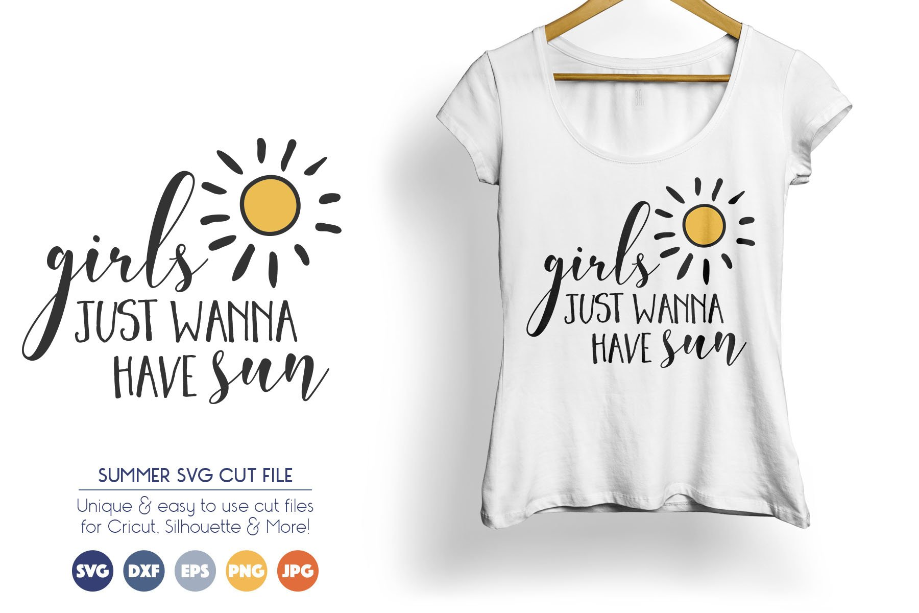 Girls Just Wanna Have Sun - Summer SVG Files example image 1